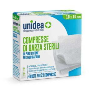 Unidea Compresse di Garza Sterili in Puro Cotone 10 x 10cm 100pz