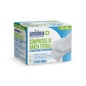 Unidea Compresse di Garza Sterili in Puro Cotone 18 x 40cm 12pz