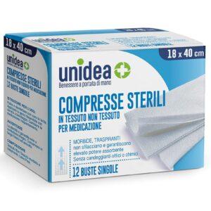 Unidea Compresse di Garza Sterili in Tessuto non Tessuto 18 x 40cm 12pz