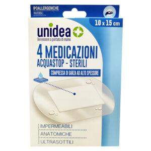 Unidea Compresse di Garza Impermeabili 4 Medicazioni Acquastop Sterili 10 x 15cm