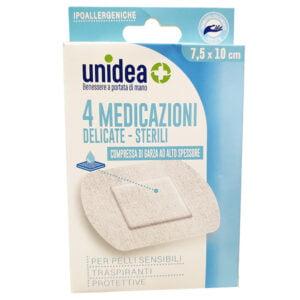 Unidea Compresse di Garza in TNT 4 Medicazioni Sterili e Delicate 7,5 x 10cm