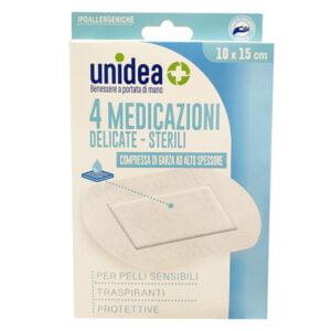 Unidea Compresse di Garza in TNT 4 Medicazioni Sterili e Delicate 10 x 15cm
