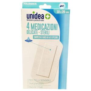 Unidea Compresse di Garza in TNT 4 Medicazioni Sterili e Delicate 10 x 20cm