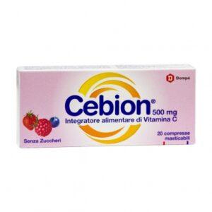 Cebion Vitamina C Gusto Frutti di Bosco Senza Zucchero 500 mg 20 compresse masticabili