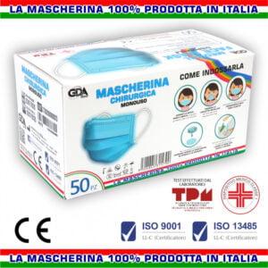 GDA Mascherina Mascherine di Protezione tipo Chirurgico Monouso Tre Strati 50 Pezzi